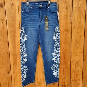 DG2 by Diana Gilman white Hawaiian floral straight leg jeans high rise size 6